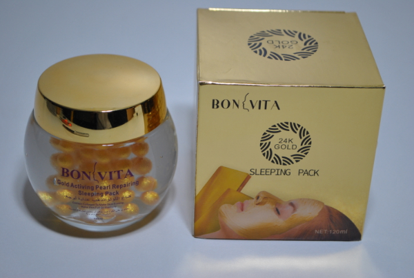 Ночная крем маска для лица Bonvita Gold Activing Pearl Repairing Sleeping Pack 120g. (шарики)