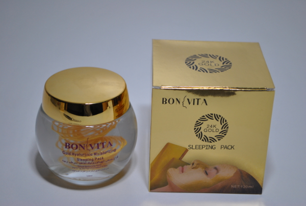 Ночная крем маска для лица Bonvita Gold Hyaluronic Moisturizing Sleeping Pack 120g. (спираль)